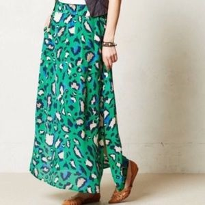Anthropologie Vanessa Virginia Leopard Maxi Skirt